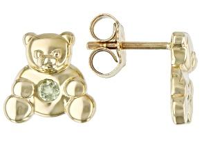 Green Peridot 10k Yellow Gold Children's Teddy Bear Stud Earrings .07ctw
