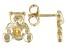 Orange Madeira Citrine 10k Yellow Gold Children's Teddy Bear Stud Earrings .07ctw