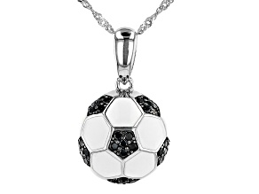 Black Spinel Rhodium Over Silver Children's Soccer Ball Pendant With Chain .31ctw