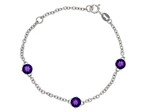 Purple Amethyst Rhodium Over Sterling Silver Children's Bracelet 1.40ctw
