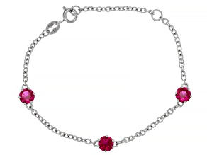 Red Lab Created Ruby Rhodium Over Sterling Silver Children's Bracelet 1.50ctw
