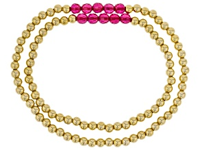 Red Lab Created Ruby 18k Yellow Gold Over Sterling Silver Mother & Daughter Stretch Bracelet 5.70ctw