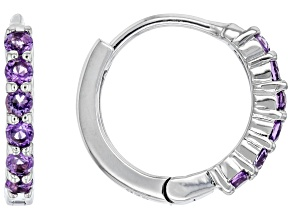 Purple African Amethyst Rhodium Over Sterling Silver Chilren's Hoop Earrings. 0.25ctw