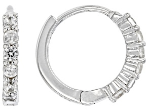 White Zircon Rhodium Over Sterling Silver Children's Hoop Earrings 0.31ctw