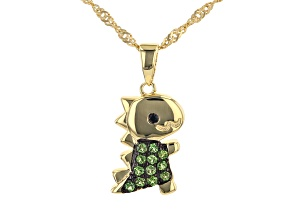 Green Chrome Diopside 18k Yellow Gold Over Silver Children's Dinosaur Pendant with Chain 0.11ctw
