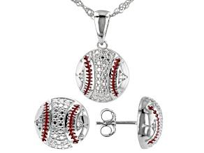 White Sapphire Rhodium Over Silver Pendant  Chain,Earrings Baseball Set 0.03ctw