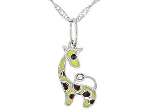 White Zircon Rhodium Over Silver Children's Giraffe Pendant Chain 0.02ctw