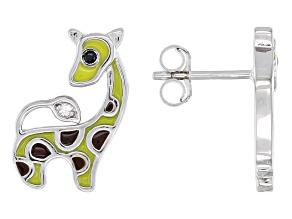 White Zircon Rhodium Over Silver Children's Giraffe Earrings 0.02ctw