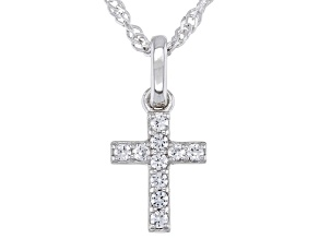 White Lab Created Sapphire Rhodium Over Silver Children's Cross Pendant With Chain 0.17ctw