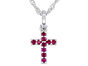 Red Lab Created Ruby Rhodium Over Silver Children's Cross Pendant With Chain 0.17ctw