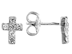 White Lab Created Sapphire Rhodium Over Silver Children's Cross Earrings 0.20ctw