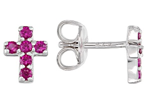 Red Lab Created Ruby Rhodium Over Silver Children's Cross Earrings .30ctw