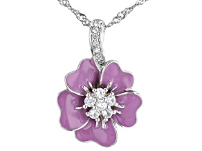 White Lab Created Sapphire Rhodium Over Silver Children's Flower Pendant Chain 0.18ctw