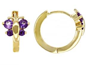 Purple Amethyst 18k Yellow Gold Over Silver Butterfly Earrings 0.39ctw