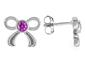 Pink Lab Created Sapphire Rhodium Over Sterling Silver Children's Bow Earrings 0.22ctw