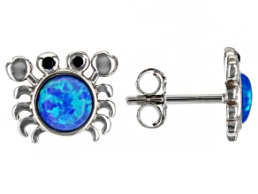 Blue Lab Created Opal Rhodium Over Silver Children's Crab Earrings 0.02ctw