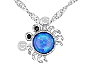Blue Lab Created Opal Rhodium Over Sterling Silver Children's Crab Pendant With Chain .10ctw