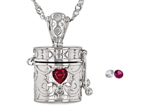 Red Lab Created Ruby Rhodium Over Silver Children's Prayer Box Pendant Chain 0.18ctw
