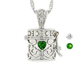 Green Chrome Diopside Rhodium Over Silver Children's Prayer Box Pendant Chain 0.18ctw