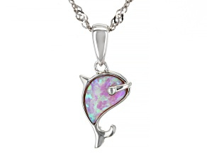 Pink Lab Created Opal Rhodium Over Silver Children's Whale Pendant With Chain 0.21ctw.