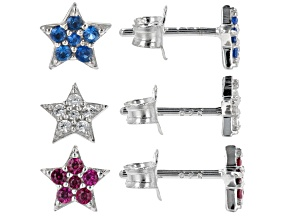 Blue Lab Created Spinel Rhodium Over Silver Children's Earrings Set