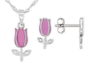 White Lab Sapphire & Purple Enamel Rhodium Over Silver Children's Pendant & Earrings Set 0.16ctw.