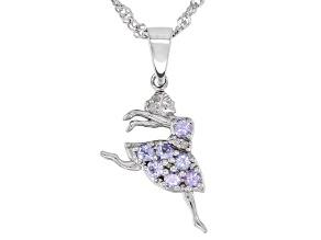 Blue Tanzanite Rhodium Over Silver Children's Ballerina Pendant/Chain 0.25ctw