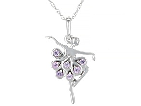 Pink Sapphire Rhodium Over 10k White Gold Children's Ballerina Pendant With Chain 0.09ctw