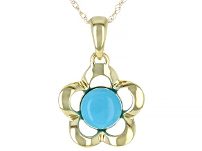 Blue Turquoise 10k Yellow Gold Flower Pendant With Chain