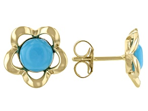 Blue Turquoise 10k Yellow Gold Flower Stud Earrings
