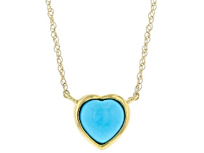 Blue Heart Shaped Sleeping Beauty Turquoise 10K Yellow Gold Pendant With Chain 6mm
