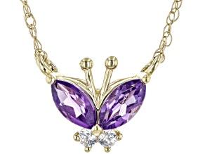 Purple Amethyst 10k Yellow Gold Children's Necklace 0.27ctw