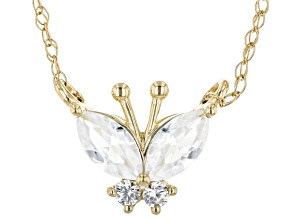 White Zircon 10k Yellow Gold Childrens Necklace 0.42ctw