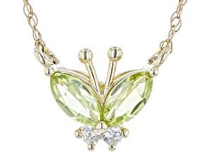 Green Manchurian Peridot(TM) 10k Yellow Gold Childrens Necklace 0.29ctw