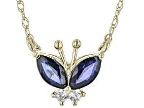 Blue Sapphire 10k Yellow Gold Childrens Necklace 0.37ctw