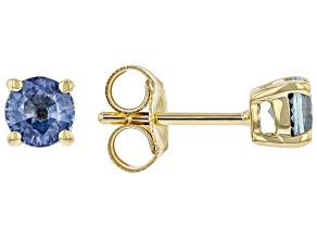 Blue Sapphire 10k Yellow Gold Children's Solitaire Stud Earrings 0.60ctw