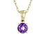 Purple Amethyst 10K Yellow Gold Children's Pendant With Chain 0.21ctw