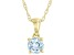 Blue Aquamarine 10K Yellow Gold Children's Solitaire Pendant With Chain 0.21ct