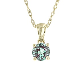 Blue Lab Created Alexandrite 10K Yellow Gold Children's Pendant With Chain 0.21ct