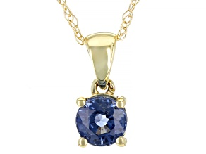 Blue Sapphire 10K Yellow Gold Children's Pendant With Chain 0.30ct