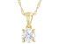White Zircon 10K Yellow Gold Children's Solitaire Pendant With Chain 0.35ct