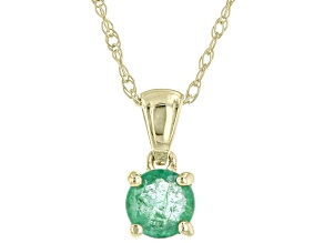 Green Emerald 10K Yellow Gold Children's Solitaire Pendant With Chain 0.21ct