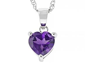 Purple Amethyst Rhodium Over Sterling Silver Children's Birthstone Pendant With Chain 1.40ct