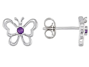 Purple Amethyst Rhodium Over Sterling Silver Children's Butterfly Stud Earrings .07ctw