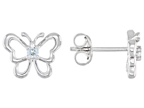 Blue Aquamarine Rhodium Over Sterling Silver Children's Butterfly Stud Earrings .05ctw