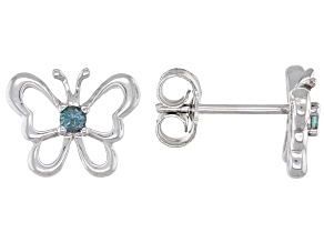 Blue Lab Created Alexandrite Rhodium Over Sterling Silver Children's Butterfly Stud Earrings .07ctw