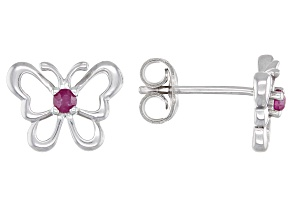 Red Ruby Rhodium Over Sterling Silver Children's Butterfly Stud Earrings .08ctw