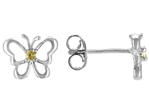 Yellow Citrine Rhodium Over Sterling Silver Children's Butterfly Stud Earrings .07ctw