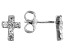 White Lab Created Sapphire Rhodium Over Silver Children's Cross Earrings .20ctw