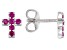 Red Lab Created Ruby Rhodium Over Sterling Silver Children's Cross Earrings .30ctw